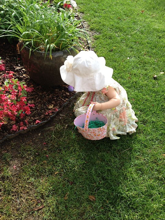 Child easter egg hunting